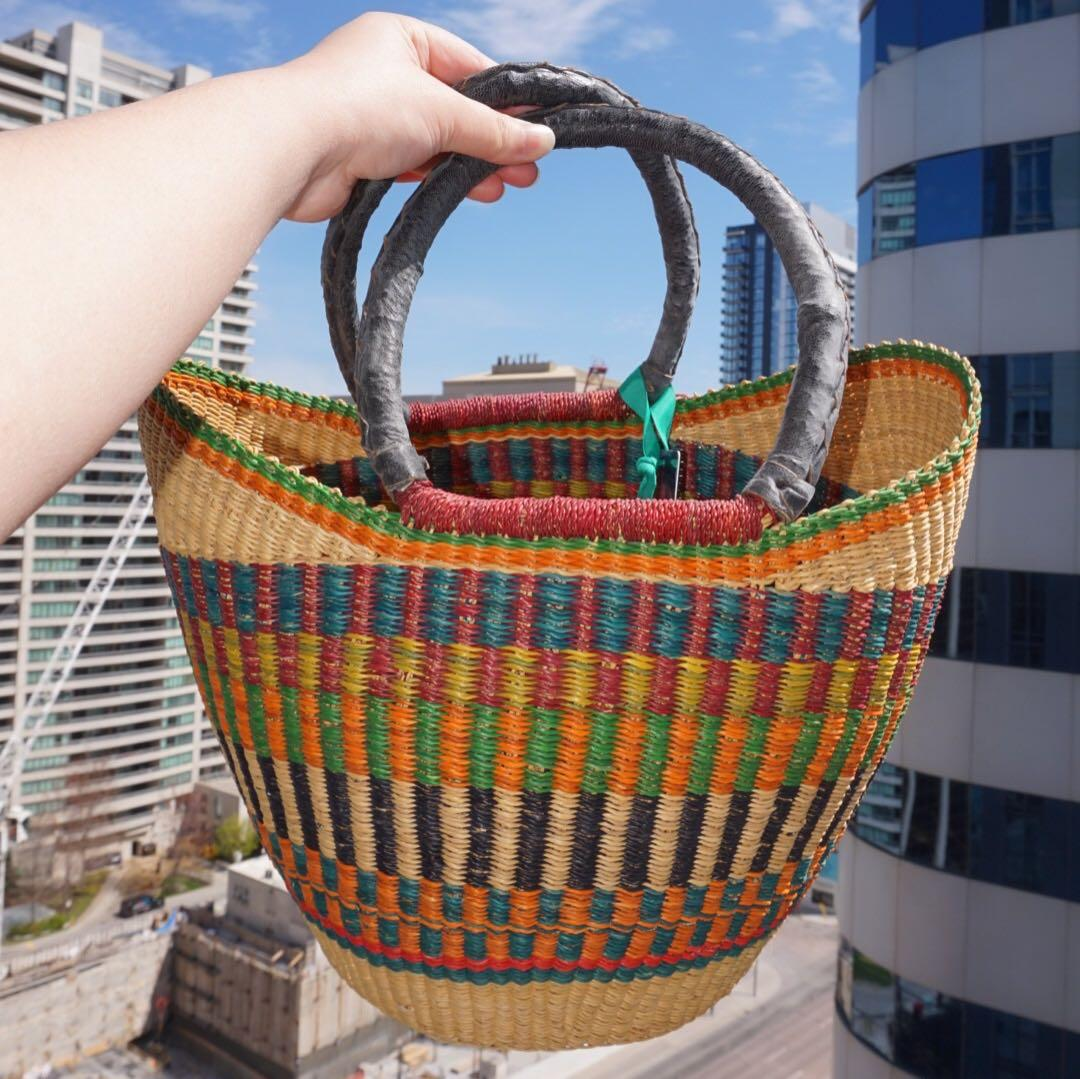 Like New🌈 Handmade Colorful Basket with Handle from Whole Foods
