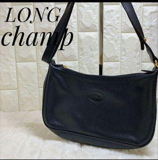 日本二手正品longchamp 皮革麻將包 半月包 手提包 可當斜背包