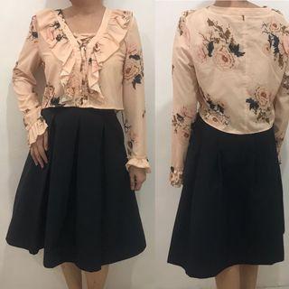 Mango croptop & Uniqlo skirt