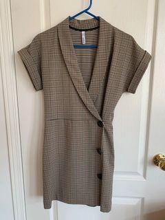 Mango Plaid Blazer Dress - XS