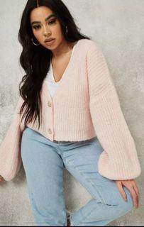 missguided pink fluffy knit cardigan