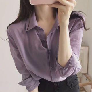 OL上班通勤/韓版溫柔甜氣質風格/紫色襯衫/女襯衫/鬼馬少女