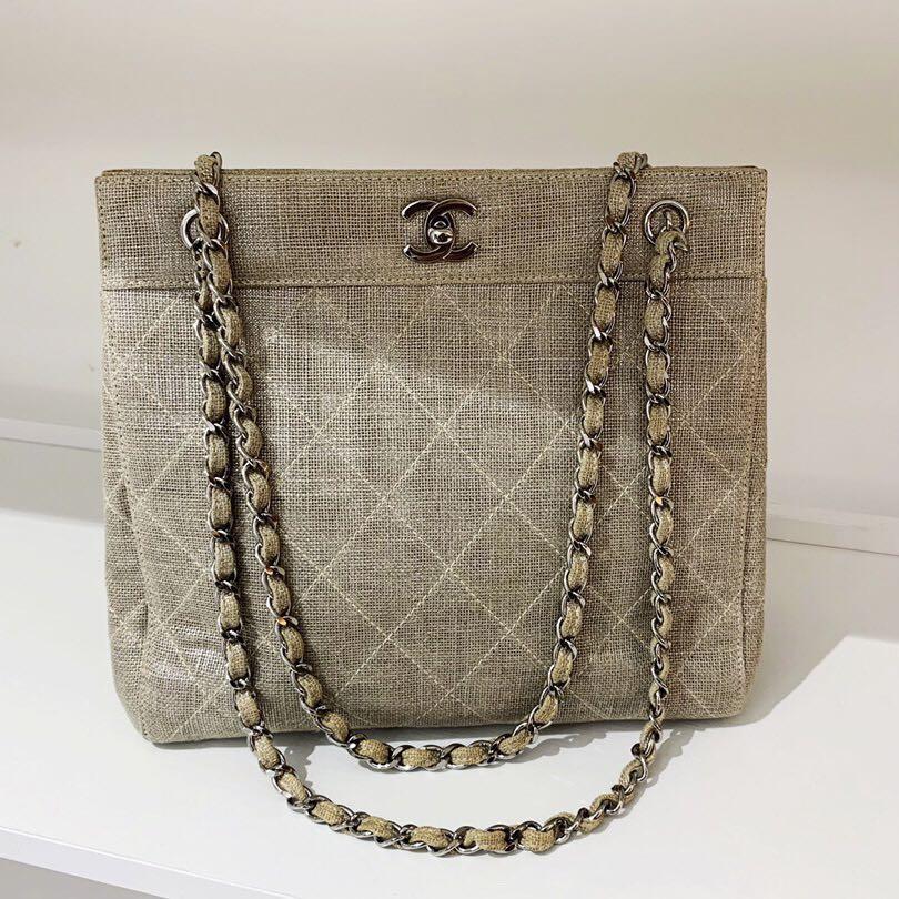 Vintage Chanel 亞麻銀鍊單肩包