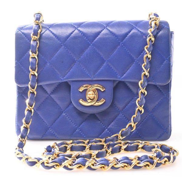 Vintage Chanel 寶藍色羊皮金釦方胖子鍊條包