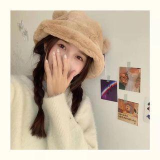 【全新】超可愛小熊耳朵棕色毛絨漁夫帽