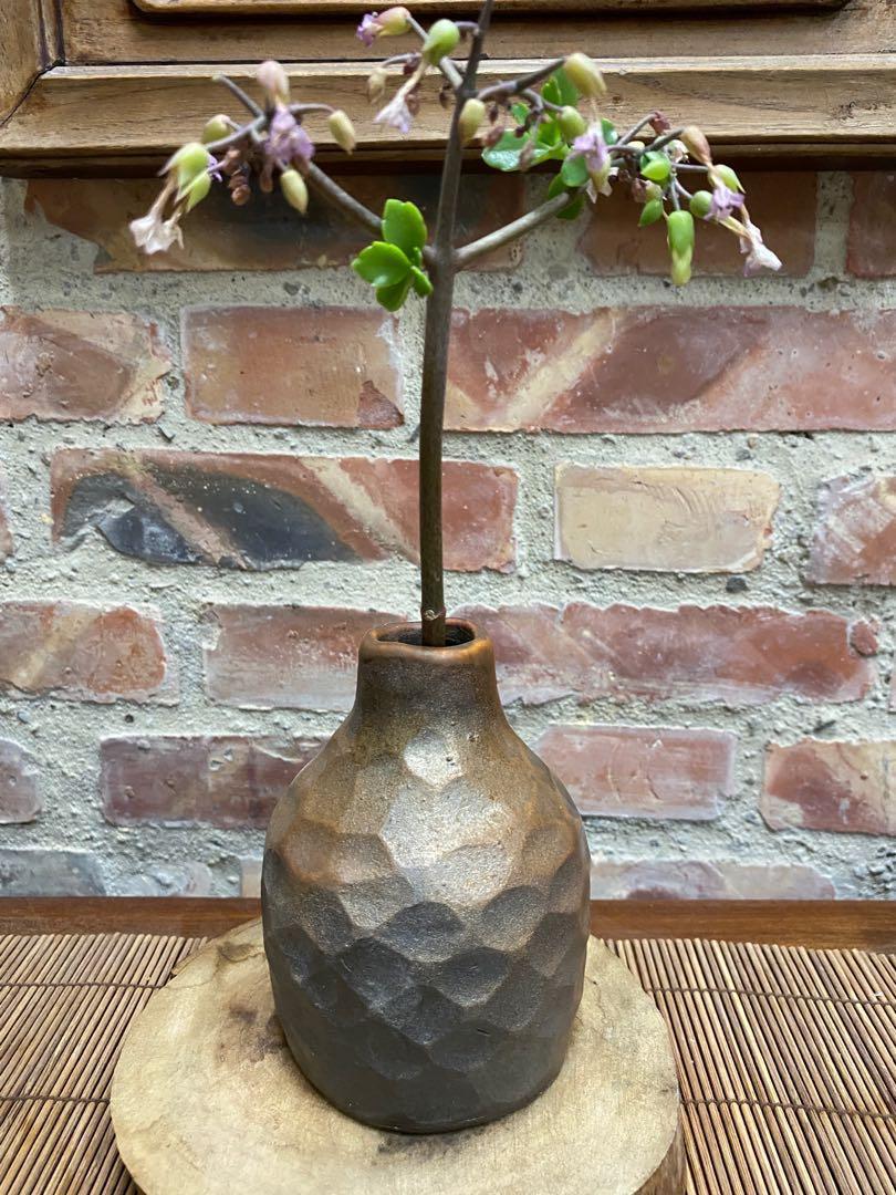 柴燒手捏小花瓶陶藝作品