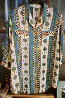 古著 台製七分袖金釦襯衫