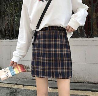 學院風 格子短裙