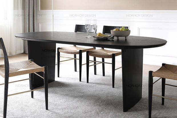 Black Ash Wood Dining Table 2m, Olinde 8217 S Dining Room Furniture Sets