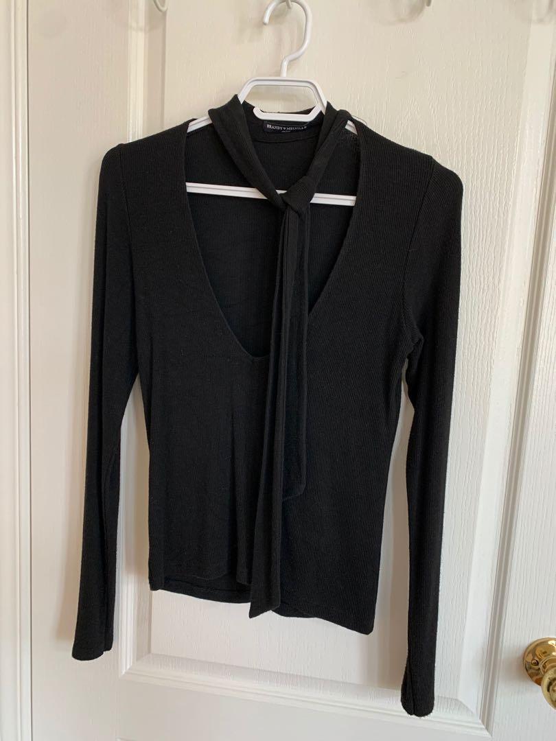 Brandy Melville Long Sleeve Neck Tie Top