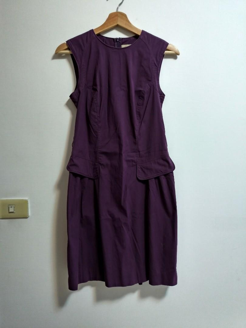 二手-BURBERRY氣質紫無袖修身洋裝-6