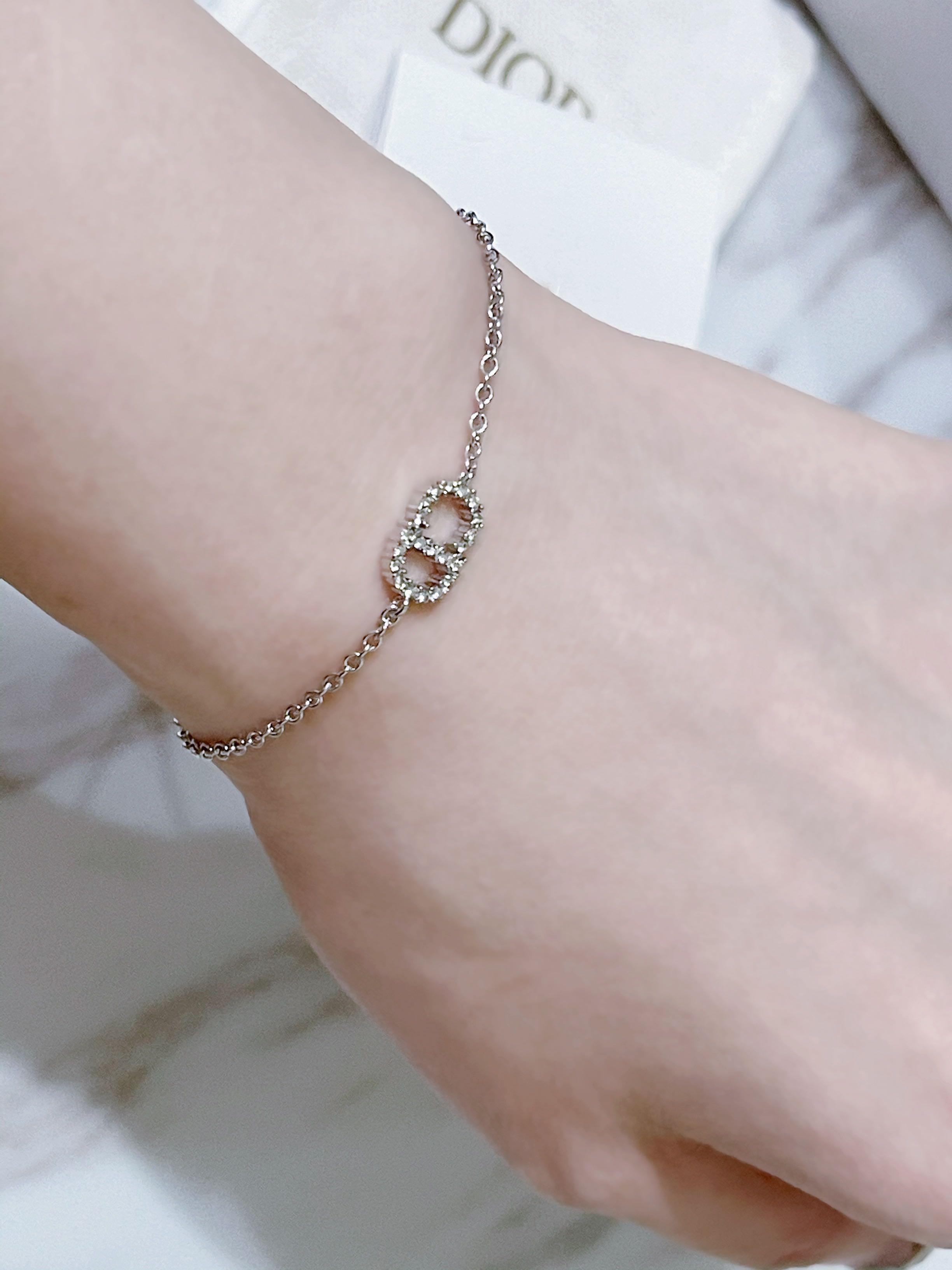 全新精品DIOR迪奧CLAIR D LUNE 水鑽銀色經典款精緻手環手鏈手鍊水