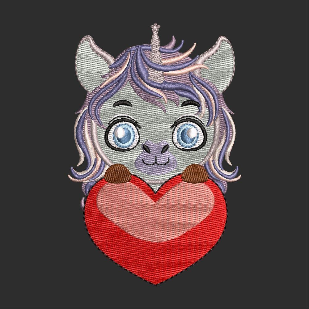Embroidery Design: Cute Cat with Heart