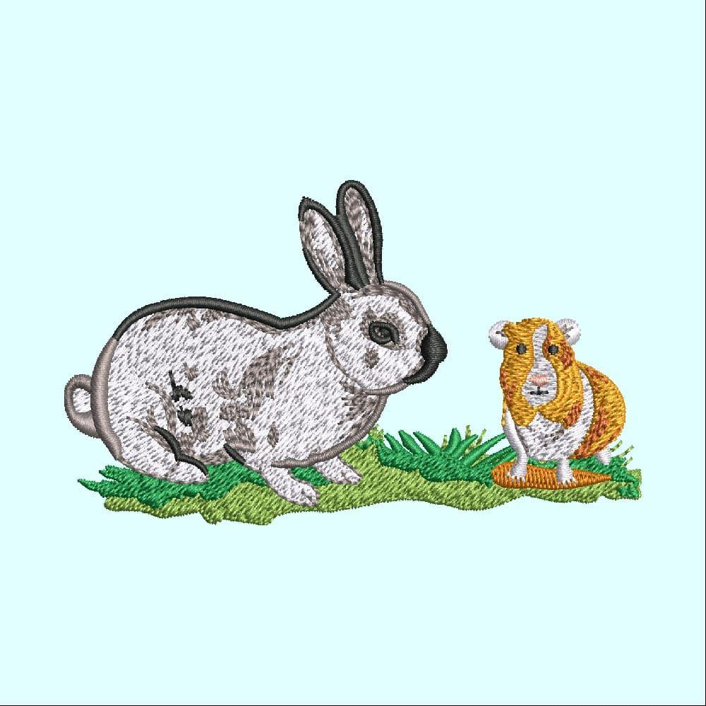 Embroidery Design: Hare and Bunny