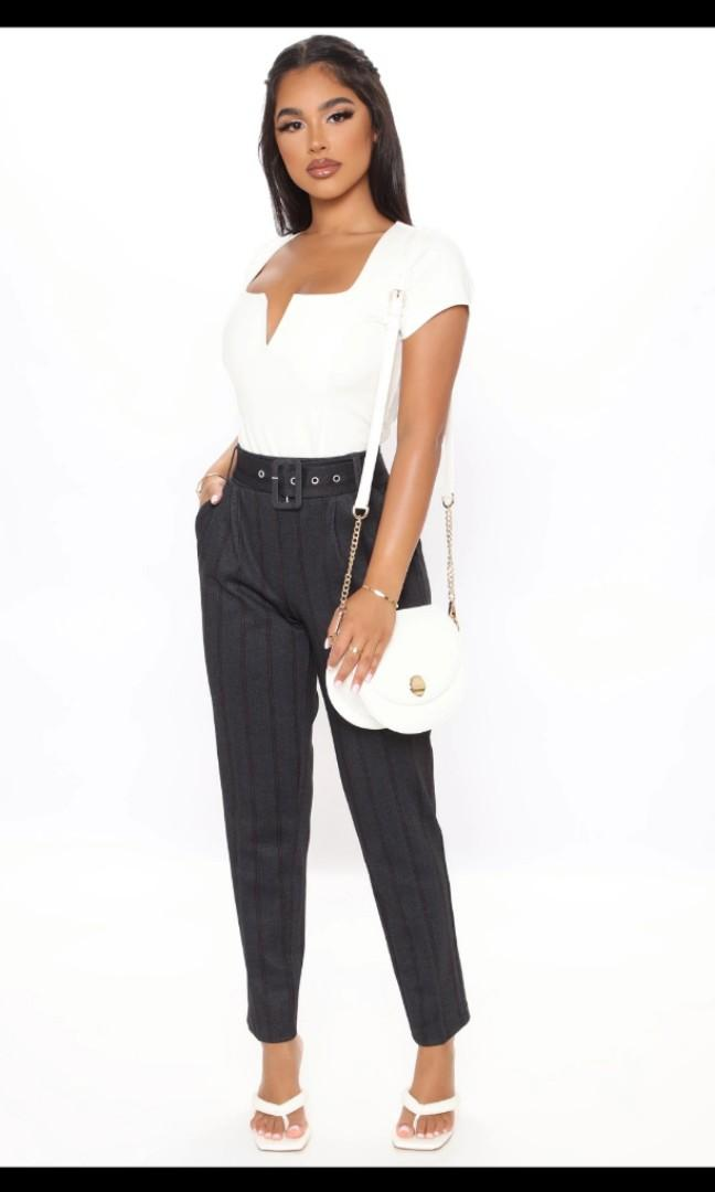 Fashion nova work stripe pants