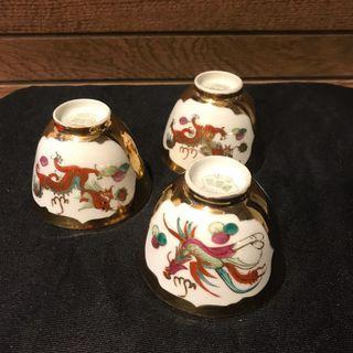 3 pc Golden dragon & phoenix tea cups