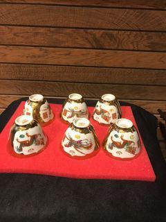 Golden dragon & phoenix teacups