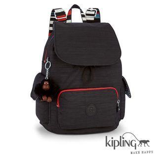 Kipling 後背包 雙條紋黑素面