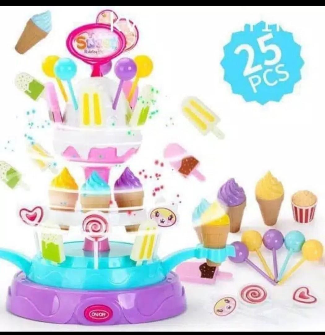 Mainan anak sweet rotating platform ice cream shop play set