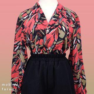 R0208 熱帶風情 長袖 襯衫 熱情 花卉 復古 古著