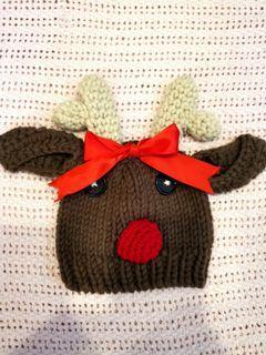 Reindeer crochet baby hat