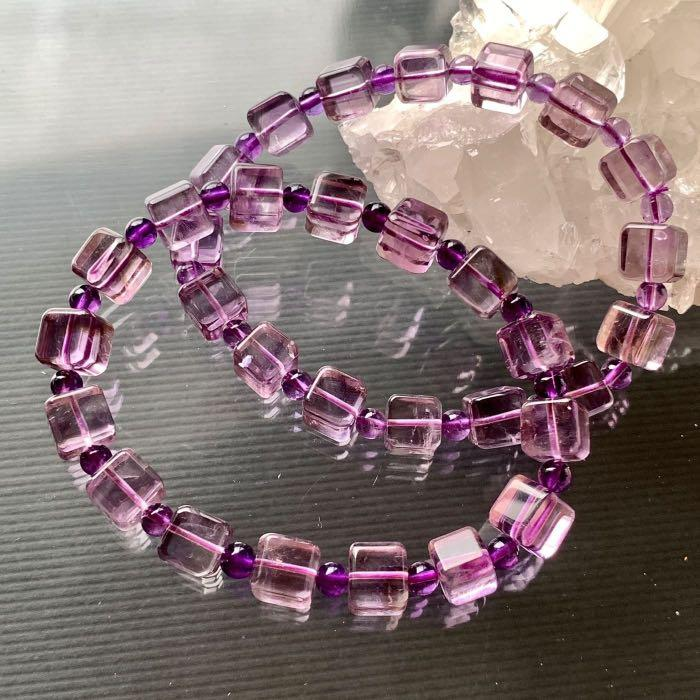 小極品-超美金字塔紫黃晶小方糖【8mm】(單圈)方塊ღ手珠手鍊DIY串珠隔珠項鍊•點點水晶