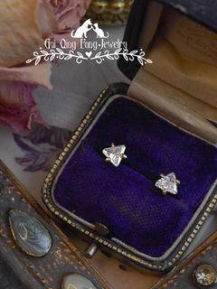 耳飾   法國進口14K包金 三角形鋯石 純銀 耳針 耳環