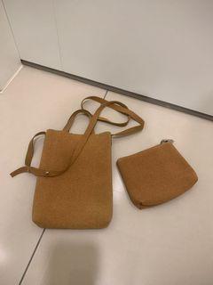 棕色 質感 麂皮 手工 小包包 手機包 小廢包 附同色零錢包 磁釦設計 背帶可調整 迷你提袋