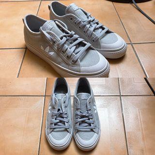Adidas nizza trefoil灰色帆布鞋 鞋號23.5 本人24.5可穿 全新未穿過