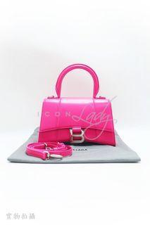 BALENCIAGA Hourglass XS Top Handle 瑩光粉紅色光滑牛皮 手挽袋 側肩袋 肩背袋 手袋