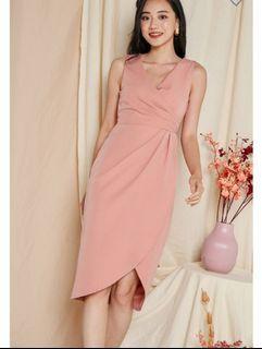 BNWT Pink Tulip Gathers Wrap Midi Dress