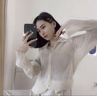 轉售Dong.studio七月小資女新款直播仙女皺感光摺襯衫