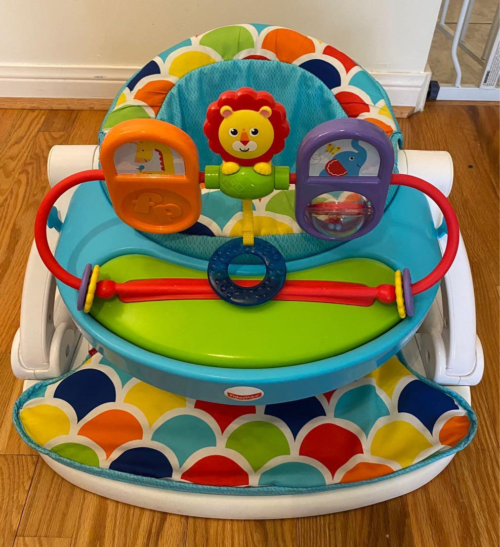 EUC Fisher price sit me up foldable floor seat chair (with removable toy tray)