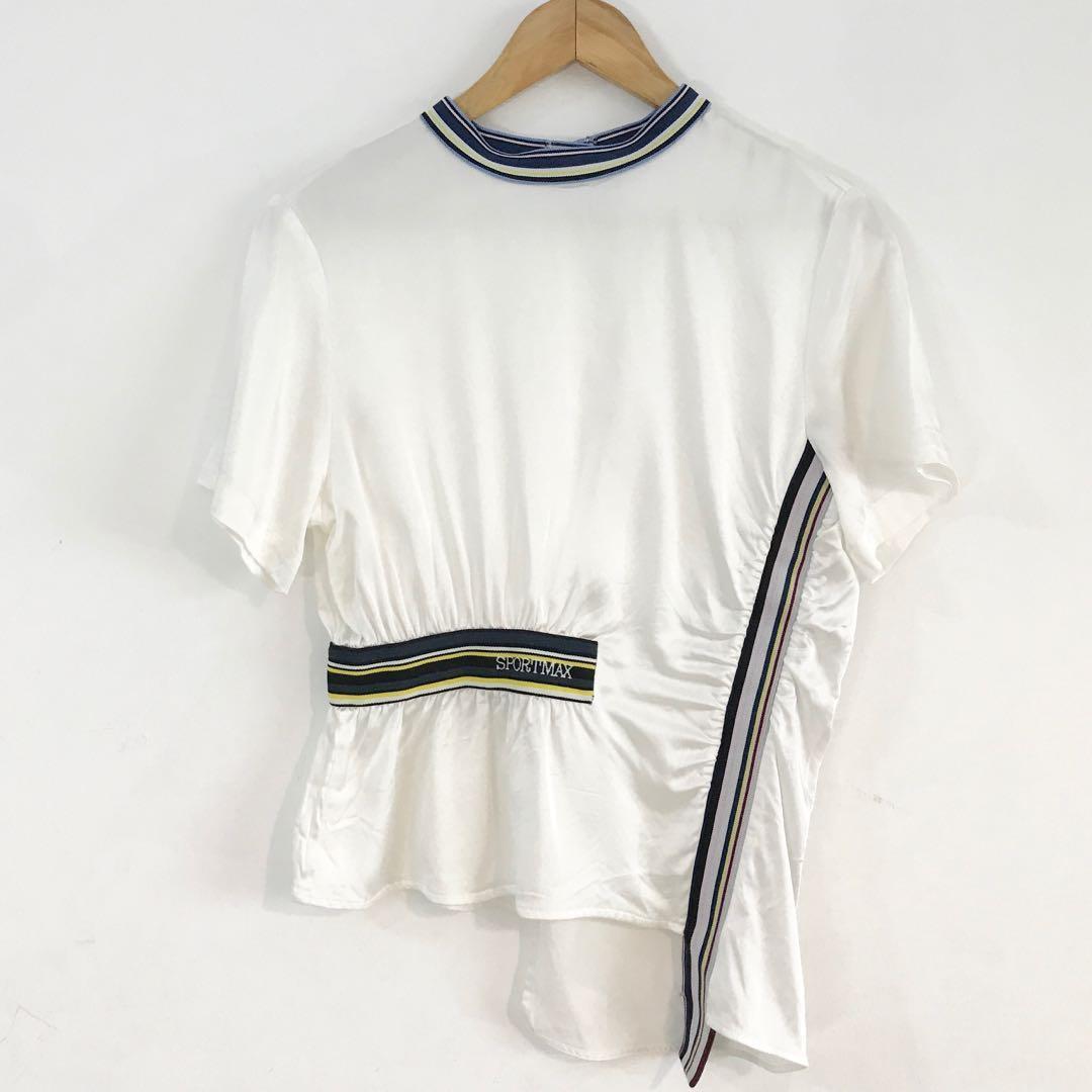 Max Mara Sportmax 義大利精品名牌 光澤緞面不對稱上衣 義大利製