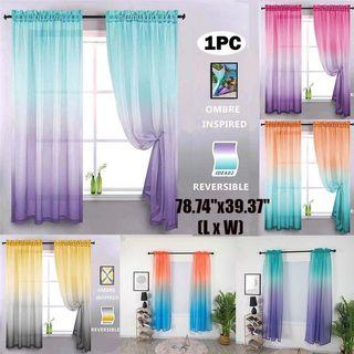 (Pre order) Gradient Color Tulle Door Window Curtain Living Room Decoration