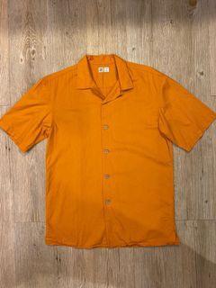 Uniqlo U絕版芥末黃短袖襯衫(二手)