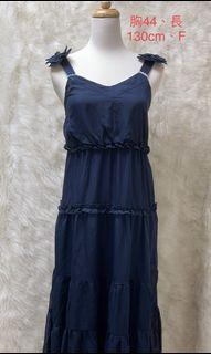 YOCO全新❤️雪紡深藍長洋裝