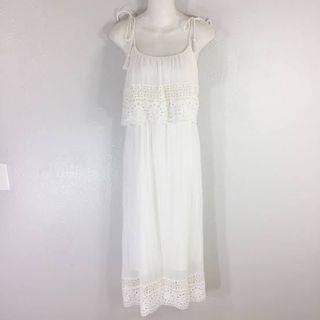 Zara White Eyelet Midi Dress