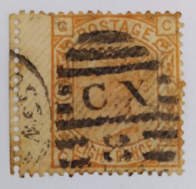 1873 Great Britain Stamp - Queen Victoria, SG 156 PLATE 1, Railway Postmark CX8, Wing Margin