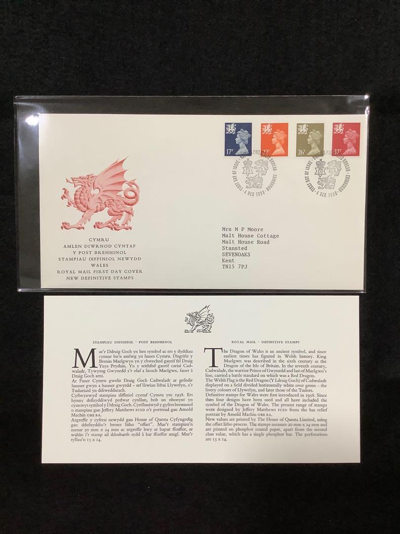 1990 Great Britain (Wales) Decimal Definitives-New Colours (SG#W45,W56,W62 & W68) First Day Cover. SG Catalogue Price £5.00. Philatelic Bureau First Day Cancel