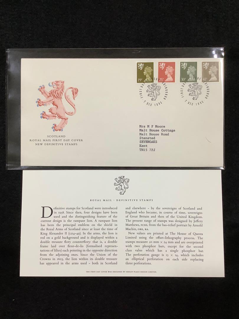 1993 Great Britain (Scotland) New Definitives Issue-(SG#S81,S84,S86 & S88) With One Elliptical Perf On Each Vertical Side-First Day Cover. SG Catalogue Price £6.00. Edinburgh Cancel