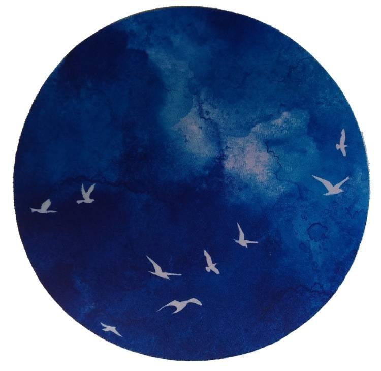 滑鼠墊圓形藍色20CM
