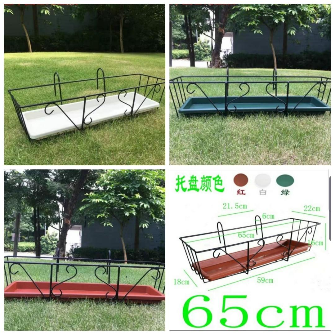 $30 Each set💥INSTOCK Simple balcony flower stand wrought iron hanging railing flower rack rectangular flower pot rack balcony planting meat flower shelf Hanging Flower Pot Rack Big Size :  L65 W22 x H16 ( With Tray  Green , Brown or White )