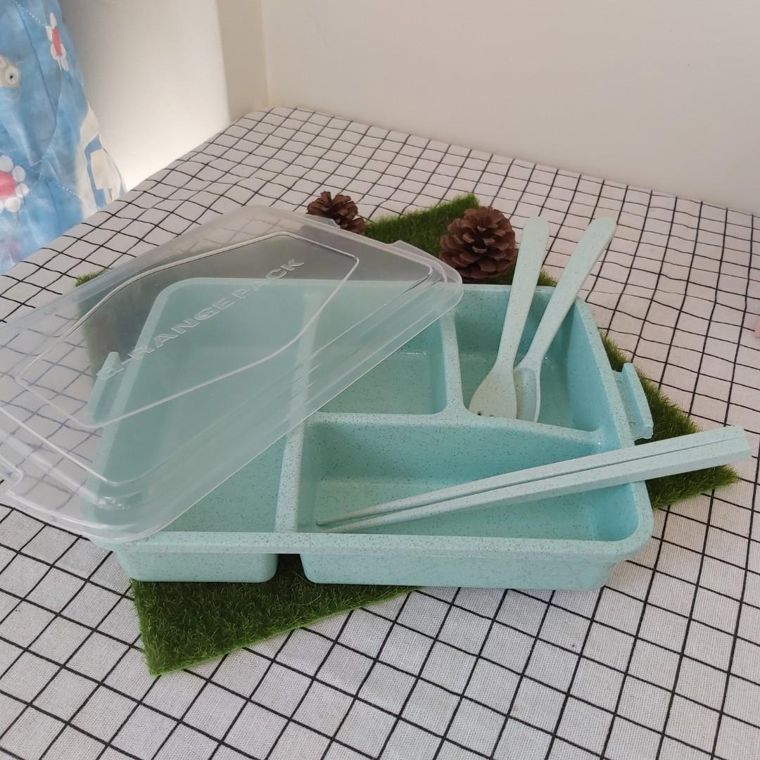 小麥4格餐盒附3樣餐具