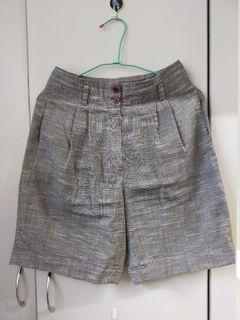 棉麻格紋短褲