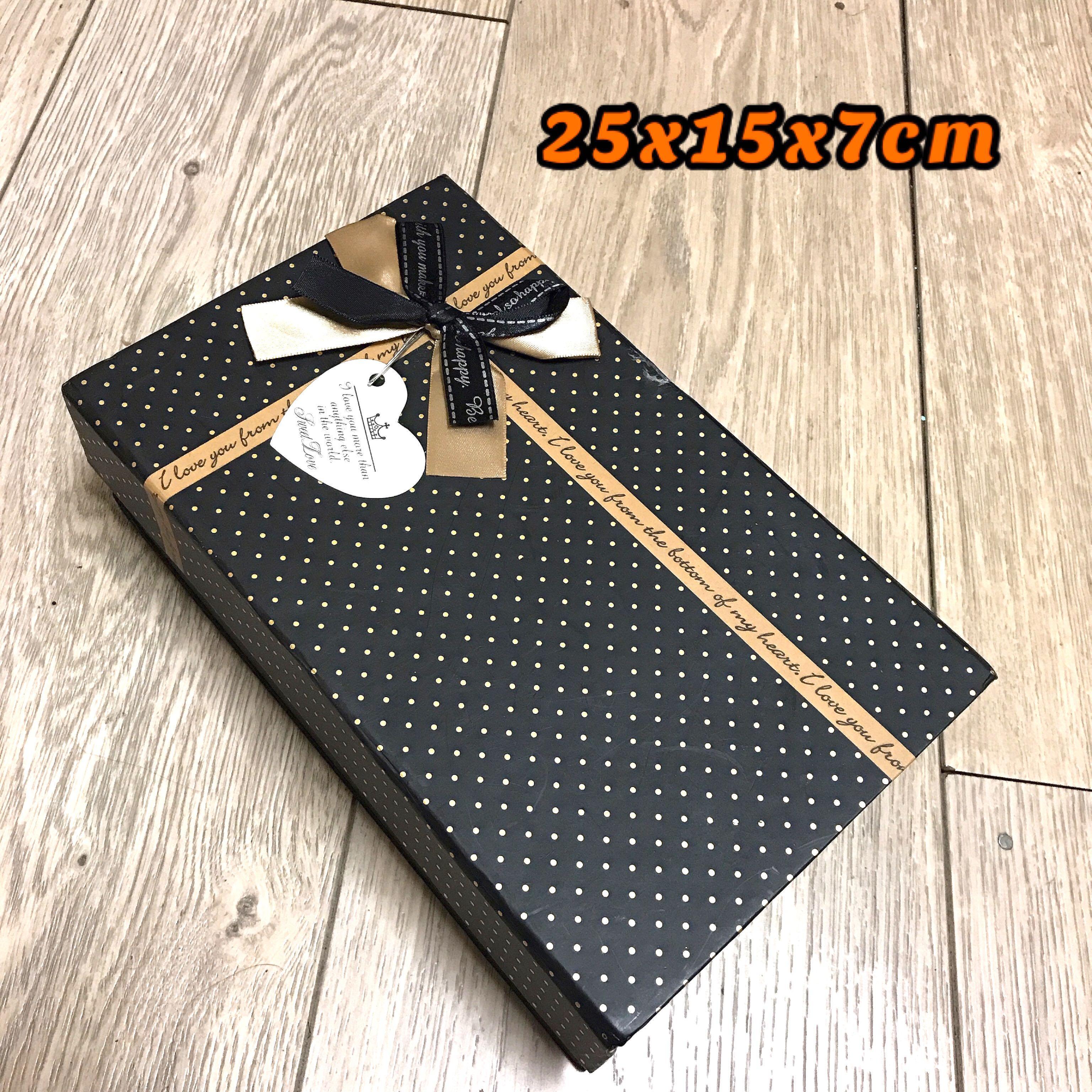 黑色 金點 長方 蝴蝶結 禮物盒 置物盒 收納盒 盒子 箱子