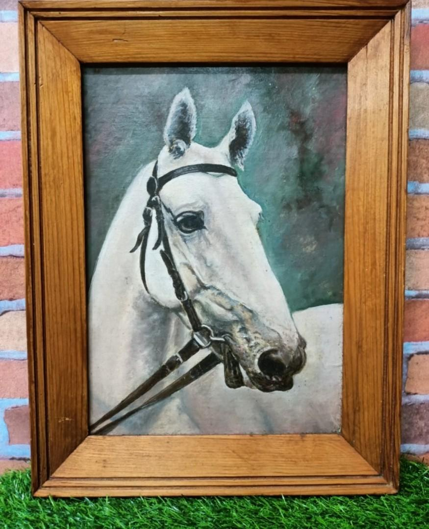 Antique Horse Painting 16inch X 12inch