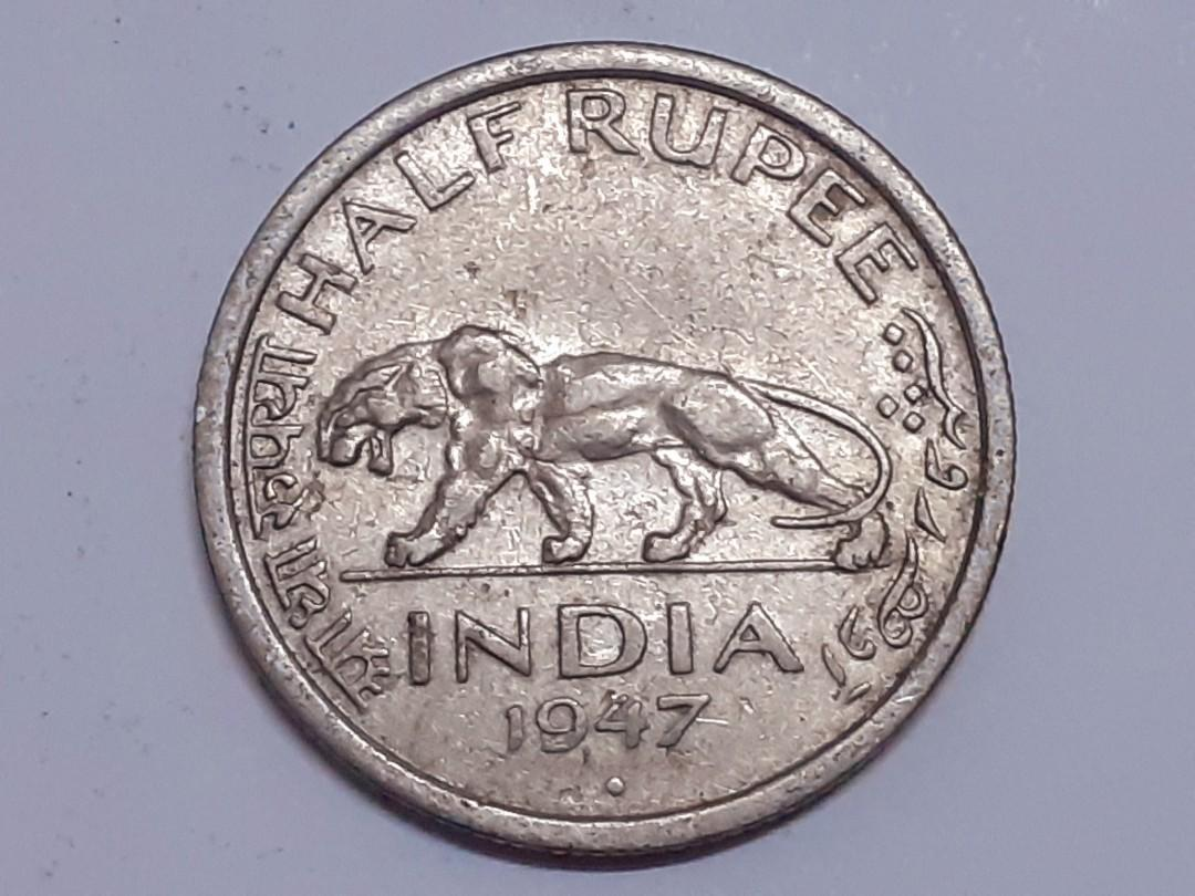 British India Old coin 1947 King George VI 1/2 Rupee