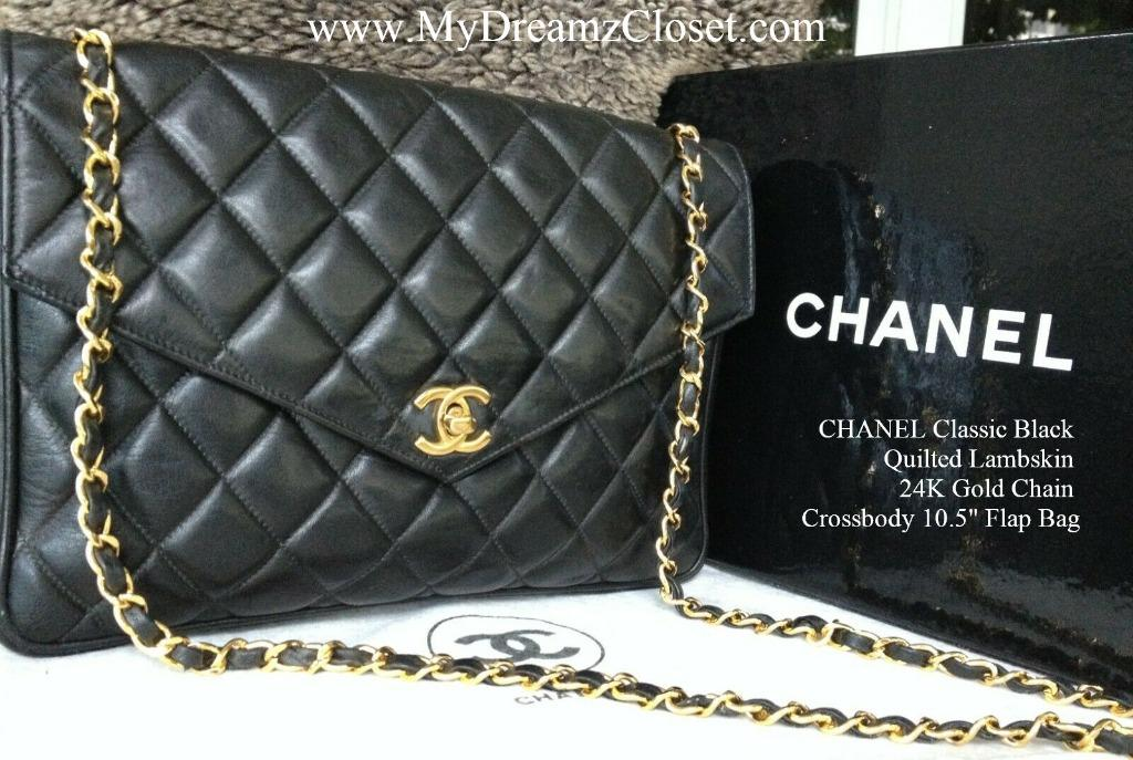 """CHANEL Classic Black Quilted Lambskin 24K Gold Chain Crossbody 10.5"""" Flap Bag"""