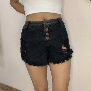COTTON ON   Black ripped denim shorts